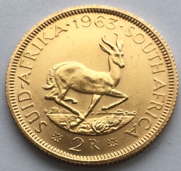 South Africa - 2 Rand 1963 Springbok - Gold