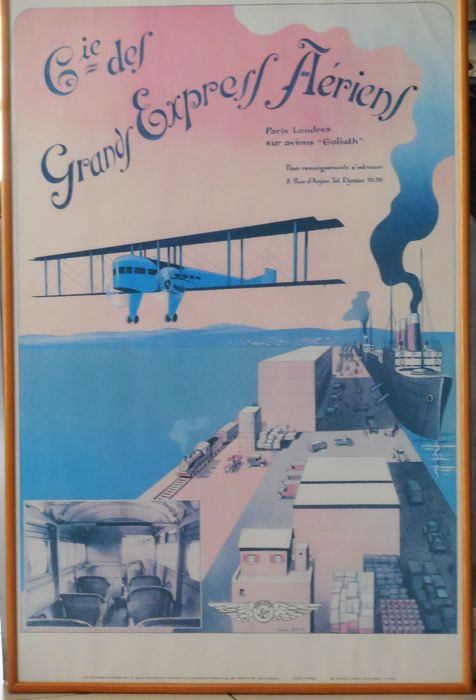 Lithograph 'Aviation Cie Des Grands Express Aériens Paris-Londres' on Goliath airplane, framed