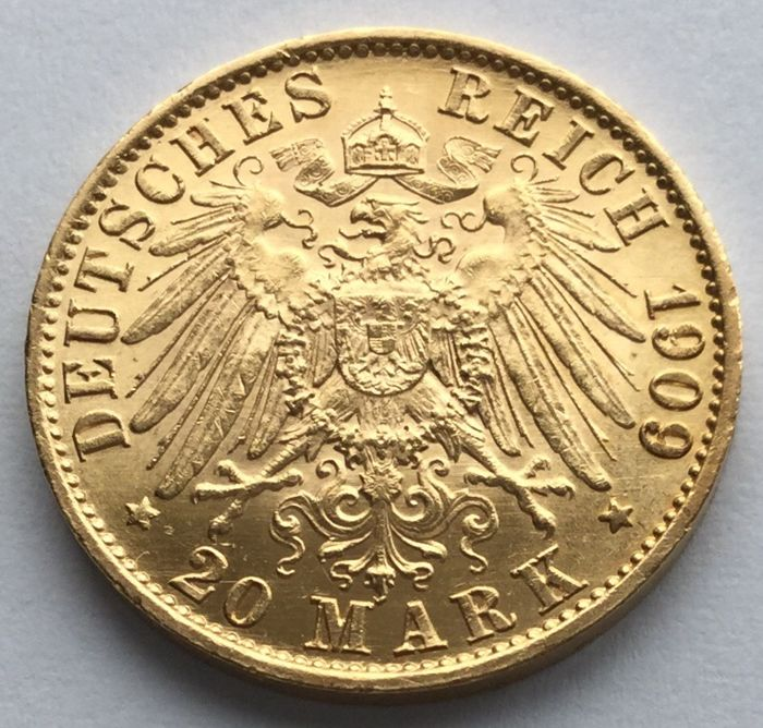 Germany - Prussia - 20 Mark 1909 A Wilhelm II - Gold