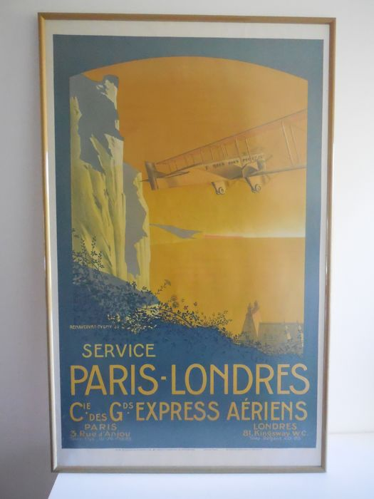Lithograph 'Aviation Cie Des Grands Express Aériens Service Paris-Londres'