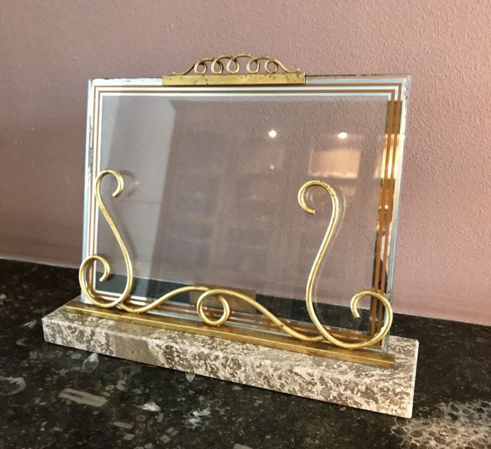 Antique glass photo frame with a marble base