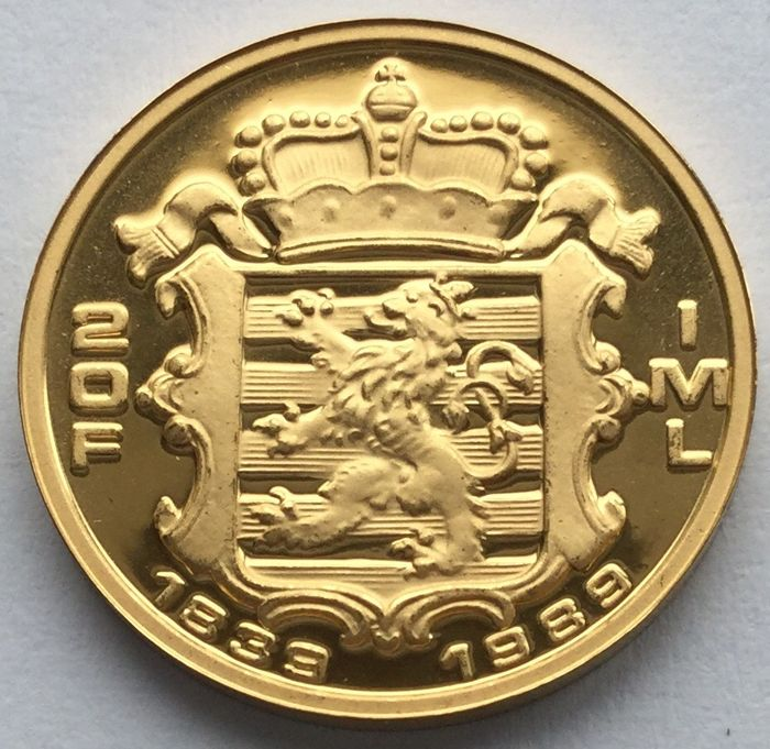 Luxembourg - 20 Francs 1989 150th Anniversary of the Grand Duchy - 1/5 oz  - Gold