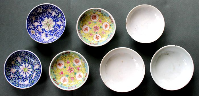 Lot of 7 little bowls - B - 'various subjects' - China - late 19th/early 20th century