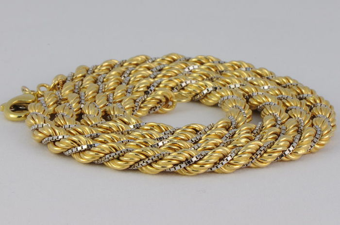 Necklace made of 750 yellow and white gold - length: 61 cm