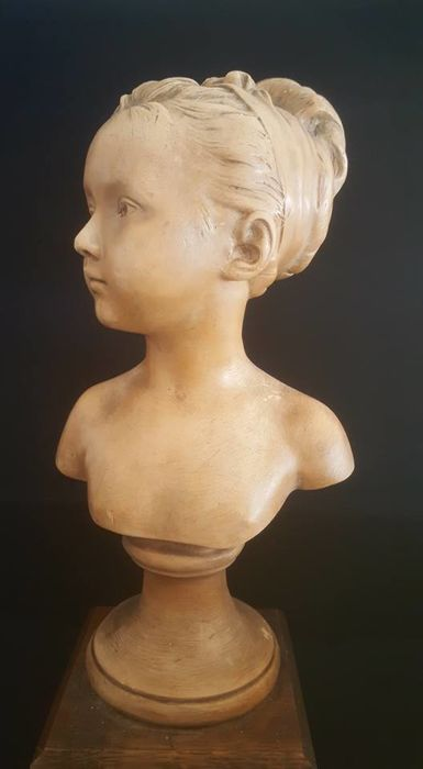 From a model by Houdon - neoclassical terracotta sculpture - bust of Louise Brongniart - ca. 1900