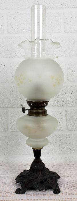 Beautiful antique oil lamp with floral painted frosted glass and composition metal base France - ca. 1880