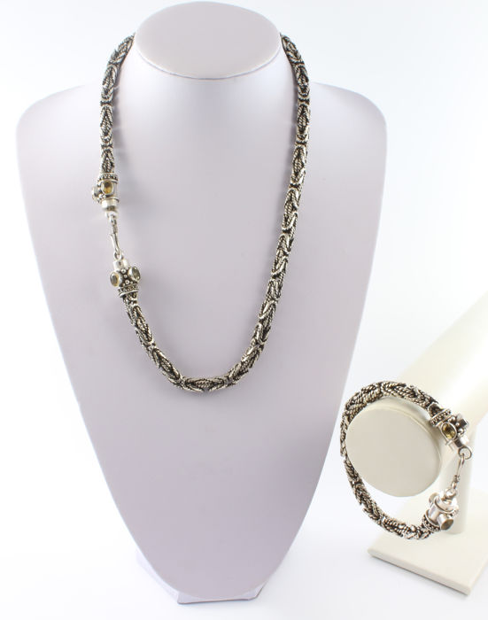 """Chain necklace and bracelet in oxidised 925 sterling silver composed of Byzantine links and with 6 faceted citrine quartzes """"each piece"""""""