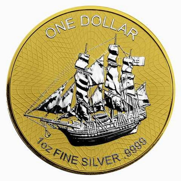 Cook Islands - 1 Cook Dollar - 1 oz Bounty Sailing Ship 2016 - 999 silver - gold-plated reverse edition - with 999 gold - partially gold plated