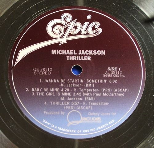 Michael Jackson Thriller LP In-house Award Platinum Record Award Epic  Records - Catawiki