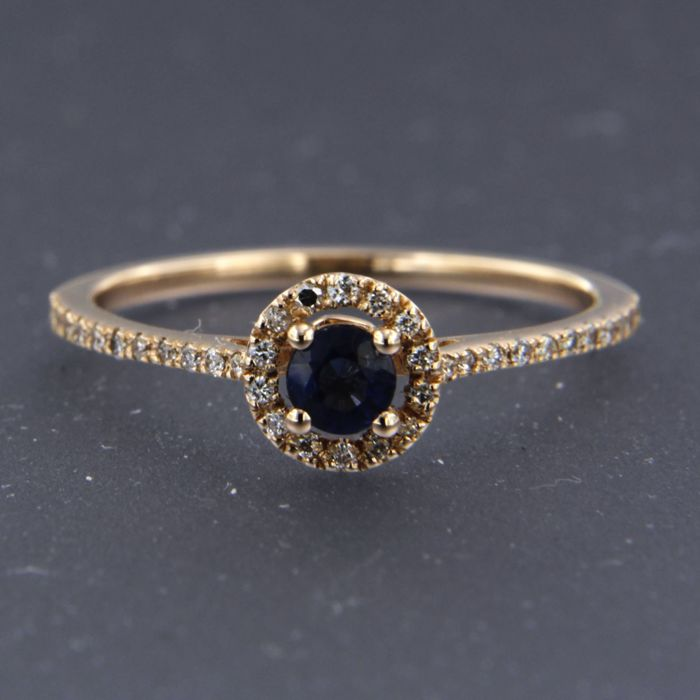 14 kt rose gold ring set with brilliant cut sapphire and diamond - ring size 17.25 (54)