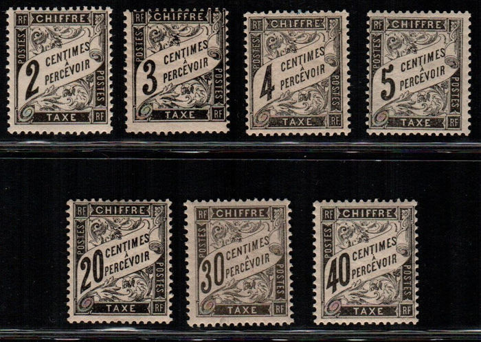 France 1881 - Postage Due (Duval Type) - Yvert Nos  11/14 – 17/19