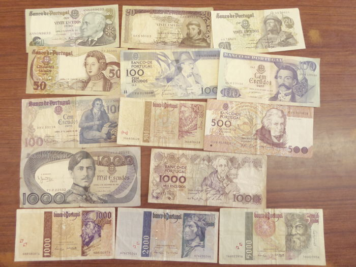 Portugal - 14 different banknotes - some still redeemable