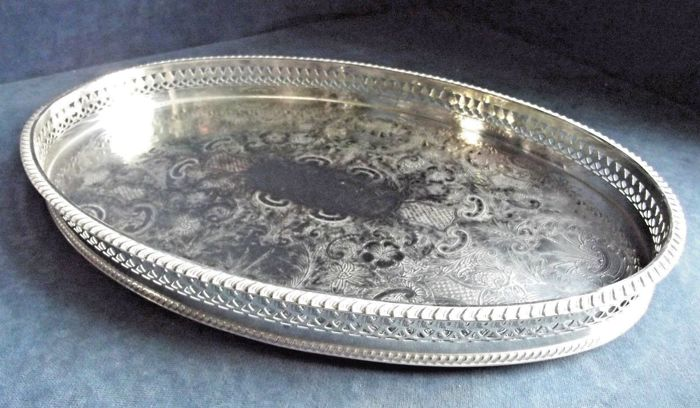 Antique silver plated tray with an openwork on the edge, in Georgian style, 1950s