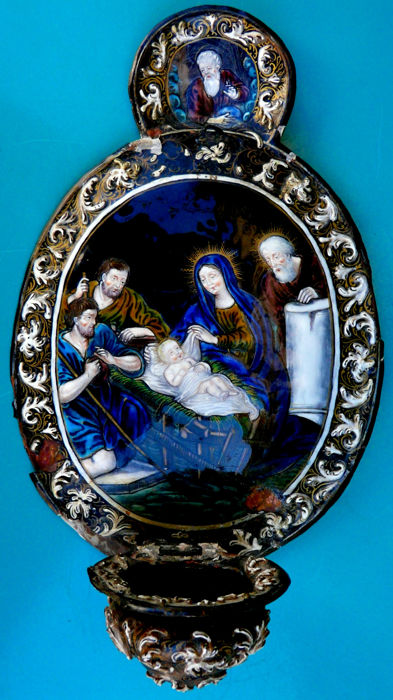 Stoup in enamels of Limoges representing the Nativity of Christ, signed at the back, France, 17th century