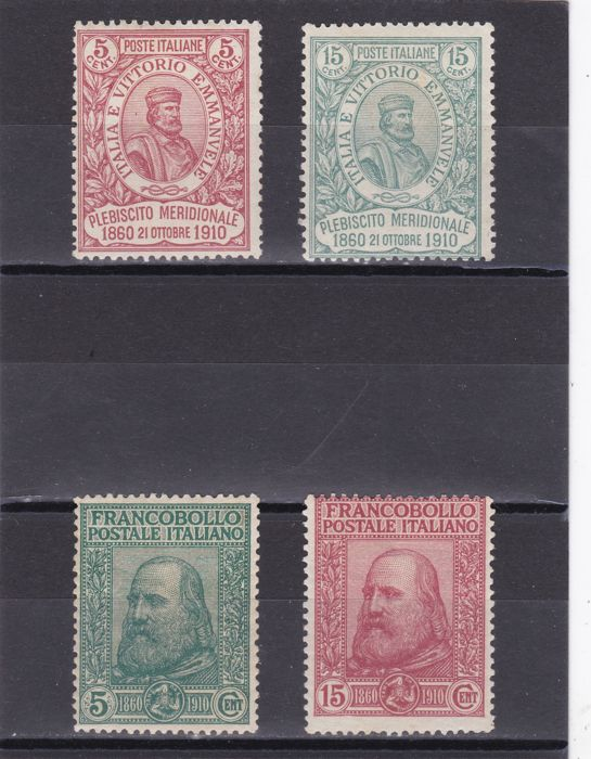 Italy Kingdom 1910 - Fiftieth Anniversary of the Italian Unification in Sicily - complete series - Sass. no. 87/90