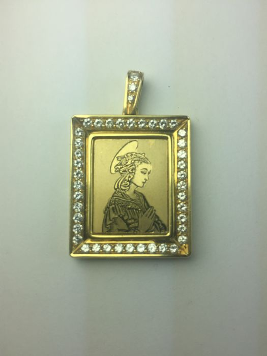 Gold pendant (18 kt) with religious icon and diamonds