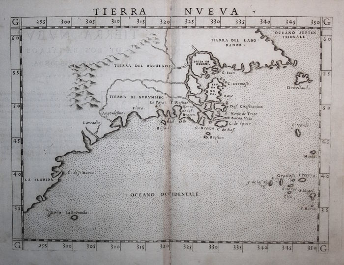 East coast of North America; United States; Canada; G. Ruscelli - Tierra Nueva - 1561
