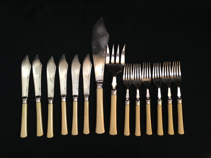 Set of 14 Fish Cutlery Utensils, by JD&S - Complete for 6 Person