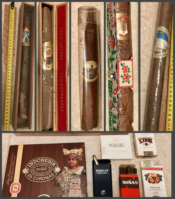 5 giant collector cigars lot of cigar boxes and other old accessories