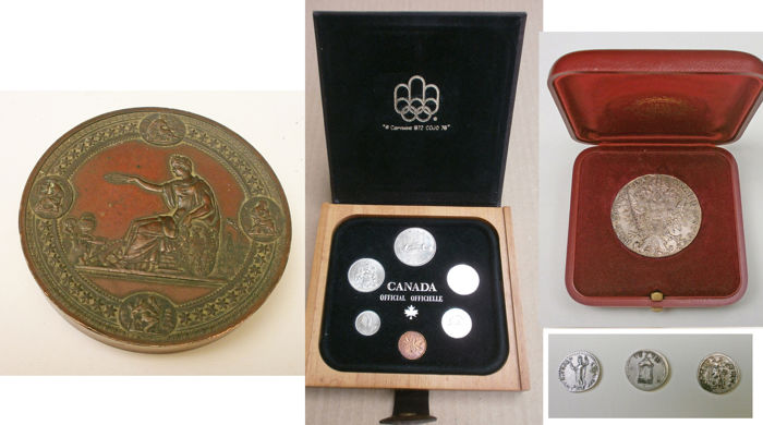 Commemorative Medal of the Universal Exhibition of 1876 in Philadelphia - six coins from 1981 - Maria Theresa of Austria thaler - three re coinages of antique coins