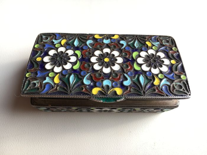 Russian Tobacco Snuff Box with Cloisonné - Silver 84 - Enamel - Filigree - Russia - ca. 1880-1900
