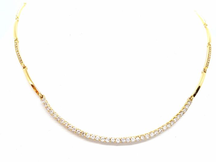 Necklace - 18 kt Yellow Gold - 1.66 ct Diamonds - 42 cm
