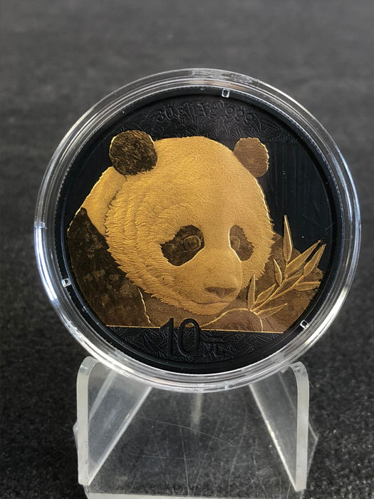 China - 10 Yuan 2018 'Panda' ruthenium und 999 gold veredelt - Silver