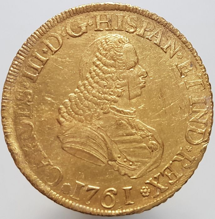 Spain - Carlos III, 8 escudos coin in gold. Popayán (Colombia), 1761.