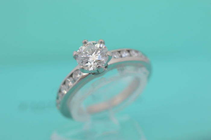 309daf10b Tiffany & co. platinum engagement ring with a solitaire brilliant cut  diamond - Ring size