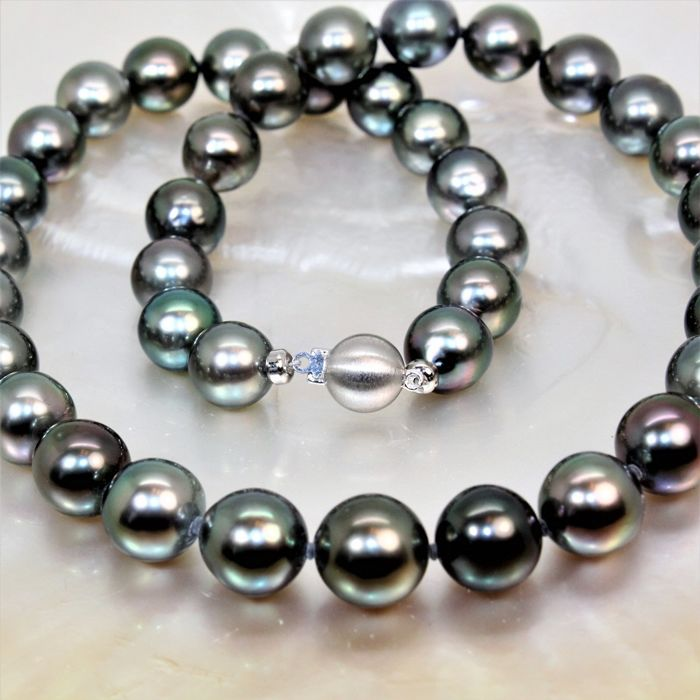 Ø 10x11,5 mm - Tahiti natural multi coloured cultured pearls - 925 Silver clasp