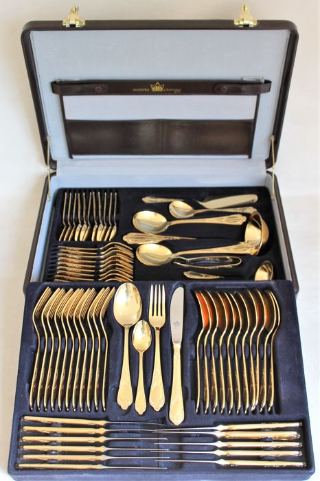 "LUXURY CUTLERY by the SBS Solingen company - ""VIENNA"" model - complete for 12 people - 23/24 karat hard gold plated in original leather case - unused"