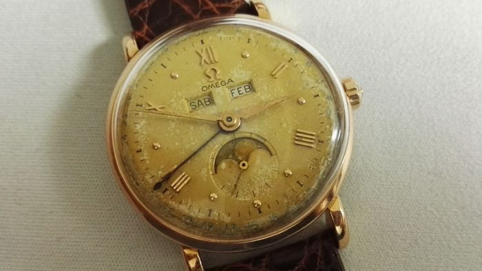 Omega - cosmic 18k rose gold triple calendar moonphase  - 2473 - Heren - 1950-1959