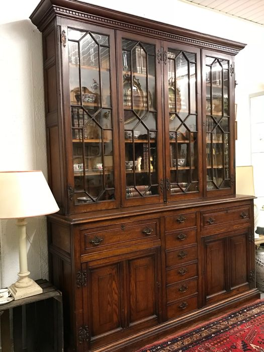 Large Victorian Oak Library Bookcase
