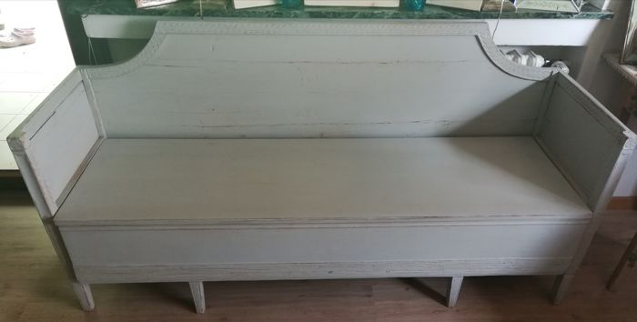 Neoclassical Gustavian sofa, painted grey, Sweden, 18th/19th century