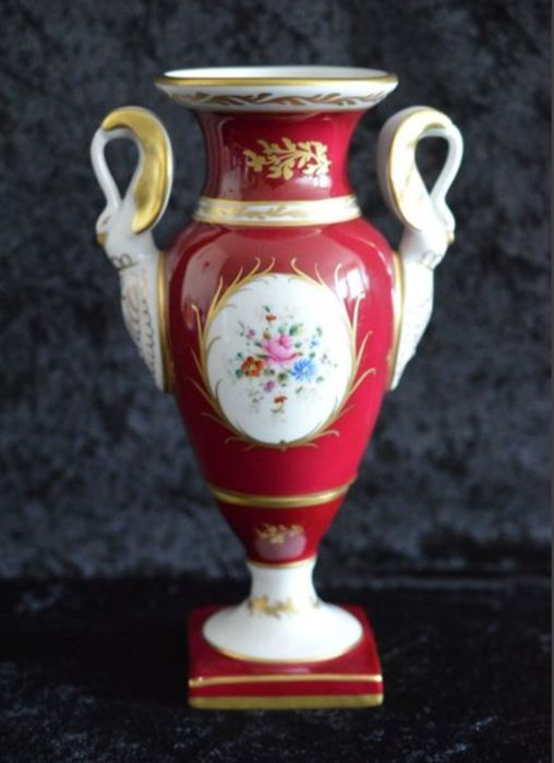 Limoges - ornate vase with swan handles