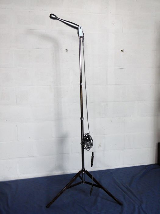 Vintage Aiwa DM-13 microphone on stand with cabling