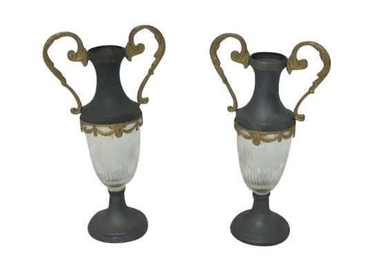 Two pewter mantel vases / ornamental vases with glass in the Empire style - France - Ca. 1920