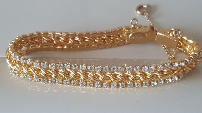 Vintage signed Les Bernard 14kt gold plated crystal Bracelet from 1960's