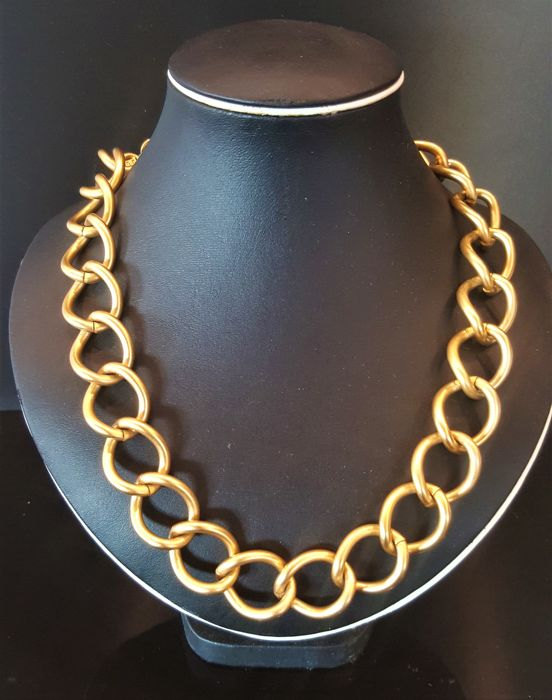Givenchy - Heavy Haute Couture Chunky Matte Gold Necklace - Vintage