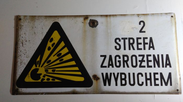 70 / 35cm - Vintage - big porcelain enamel signs - Second Hazard Zone / Explosion Hazard - atomic bunker Sulęcin, Poland after 1960