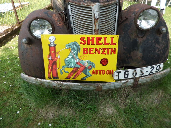Enamel sign 'Shell Benzin, Auto Oil' - 21st century
