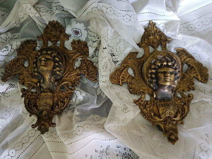 Pair of gilded bronze door knockers depicting Lady Fortune, Venice, 19th c.
