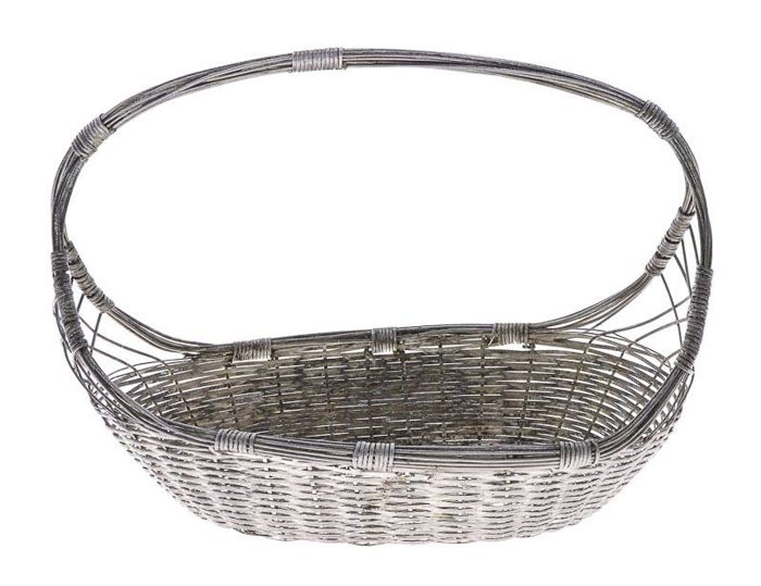 Portuguese silver plated basket mid 20th century