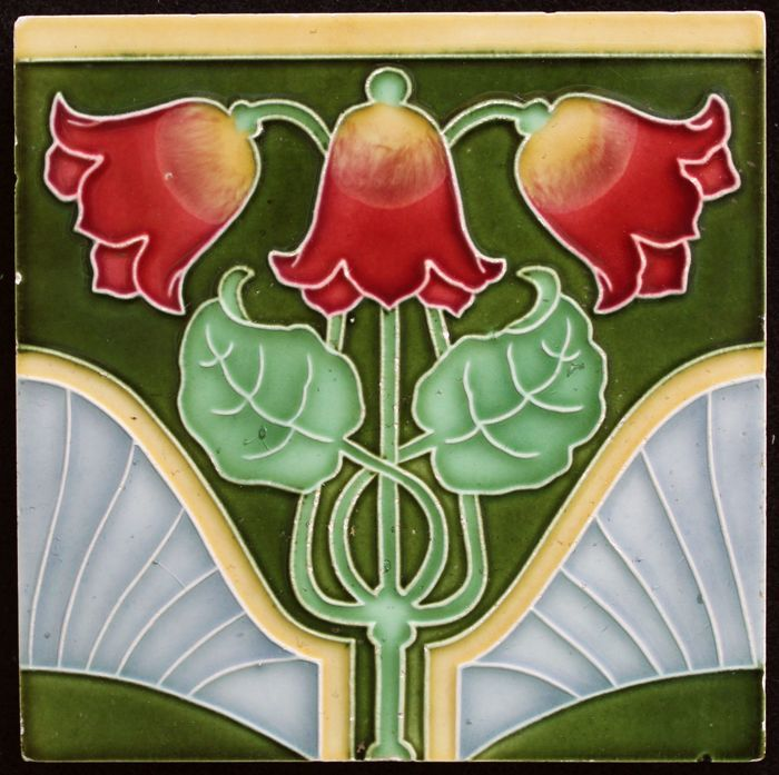 Tonwerk Offstein - German Art Nouveau tile of 3 flowers