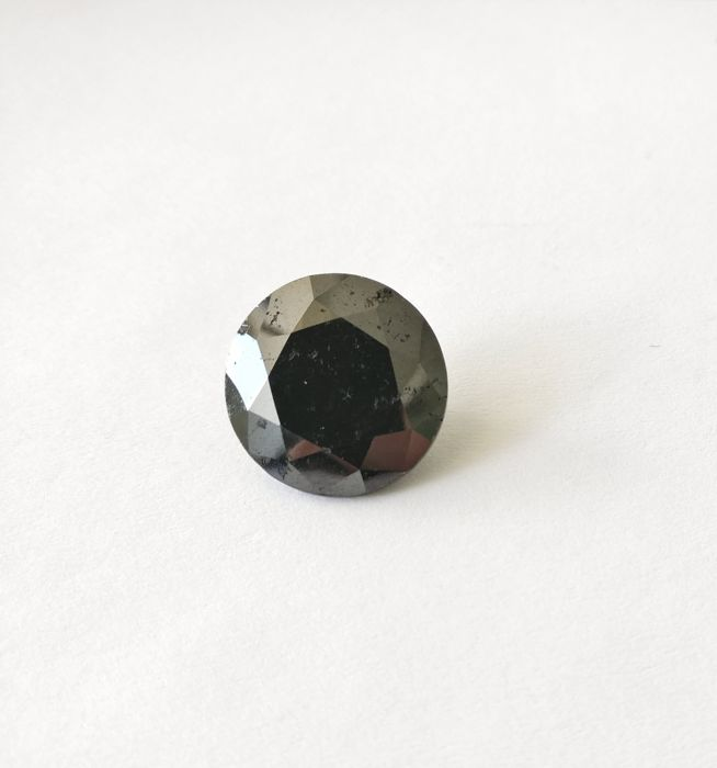 11.39 ct Round cut diamond Fancy Black