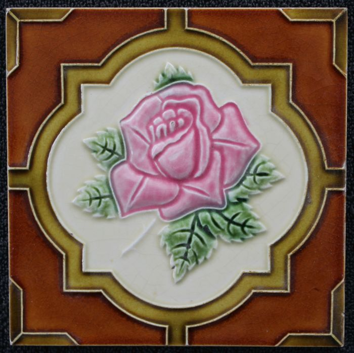 Cerabel - Art Nouveau tile with rose in relief