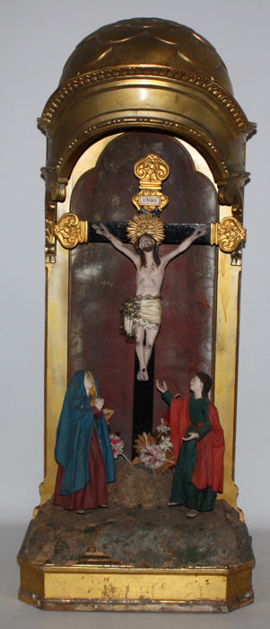 Spanish sculptural set of Calvary - in carved and polychromed wood - 19th century