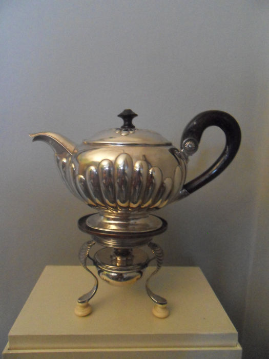 Silver teapot with burner, Empire, Johan Georg Meijer, Netherlands, Amsterdam, 1829
