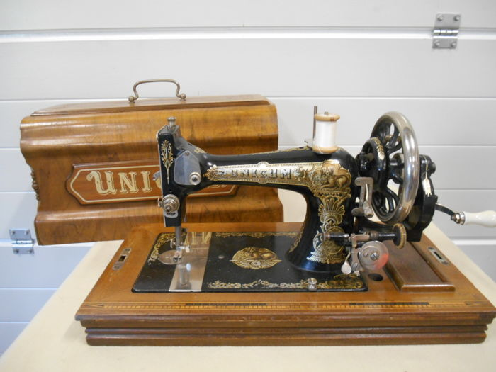 Unicum sewing machine complete with wooden case, the Netherlands, circa 1900