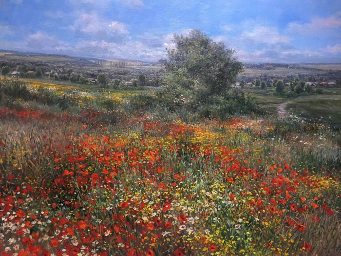 Olga Odalchuk(1965-) - Flowering of poppies in the city of Balta